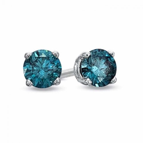 stud earrings in sterling silver & turquoise cubic zirconia