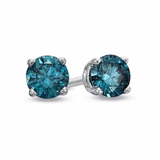stud earrings in sterling silver & turquoise cubic zirconia