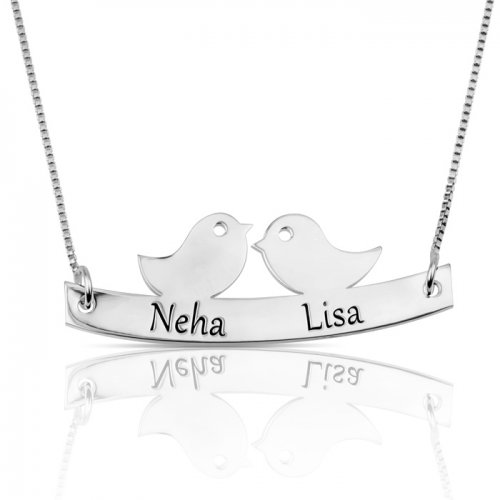 Love birds necklace with names engraved in sterling silver