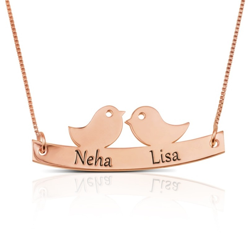 Love birds necklace with names engraved in rose gold plating
