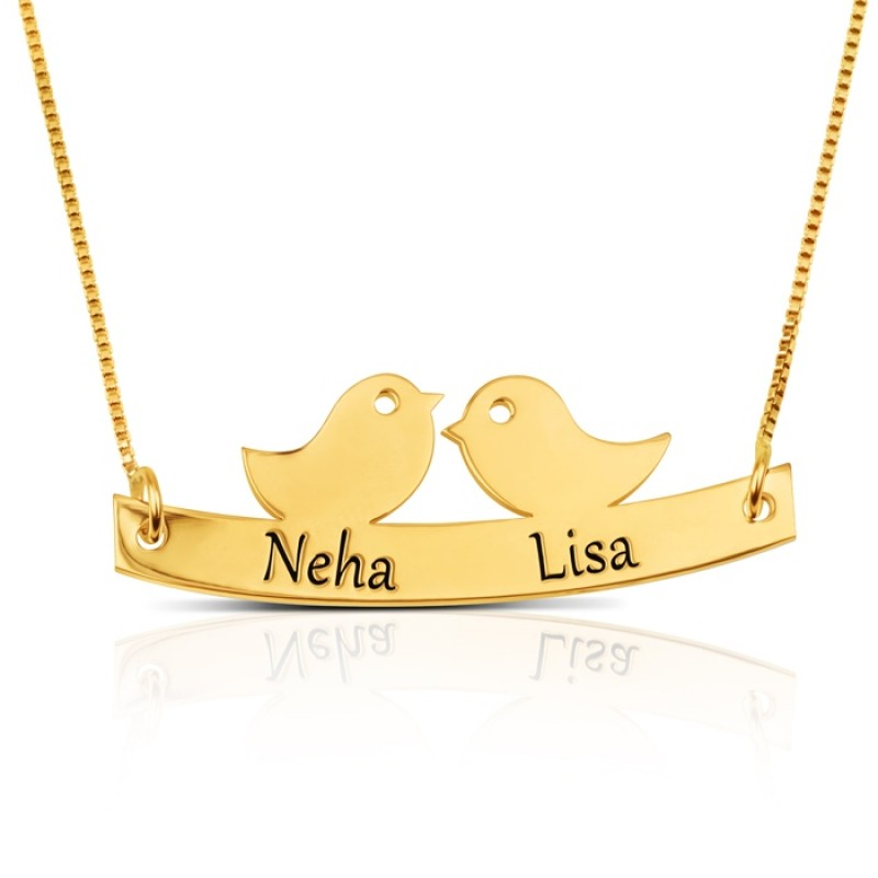 Love birds necklace with names engraved  in 18k gold plating