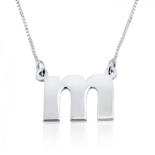 Lowercase initial necklace in 925 sterling silver