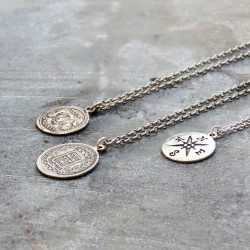 Silver North Star Coin Pendant Necklace