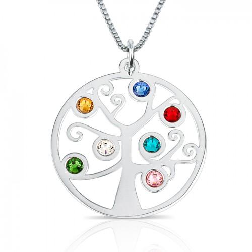 family tree  pendant in sterling silver  &  swarovski birthstone