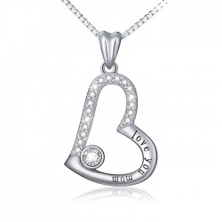 """""""Love You Mom"""" heart pendant necklace with cubic zirconia"""