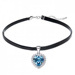 leather choker necklace with heart silver pendant & crystal from swarovski