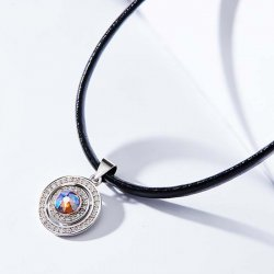 leather choker necklace with round silver pendant & crystal from swarovski