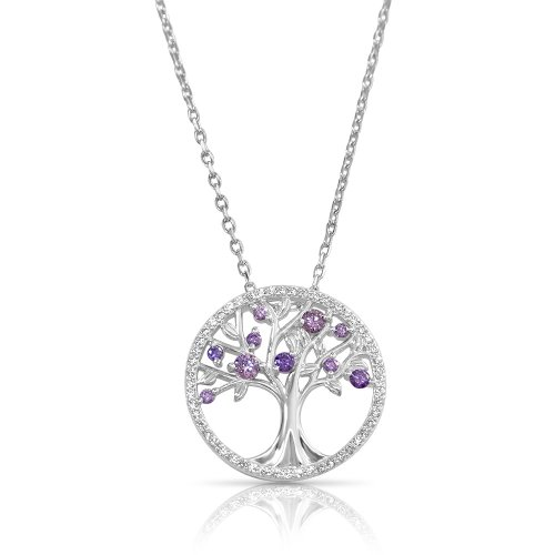tree of life necklace in sterling silver & purple cubic zirconia