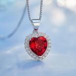 heart shaped swarovski Birthstone necklace - Garnet (January)