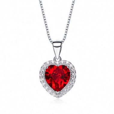 heart shaped swarovski Birthstone necklace - Garnet (January)