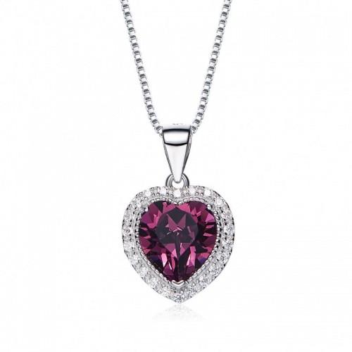 heart shaped swarovski Birthstone necklace - Amethyst (February)