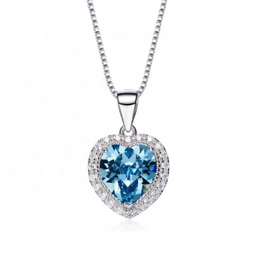 heart shaped swarovski Birthstone necklace - Aquamarine (March)