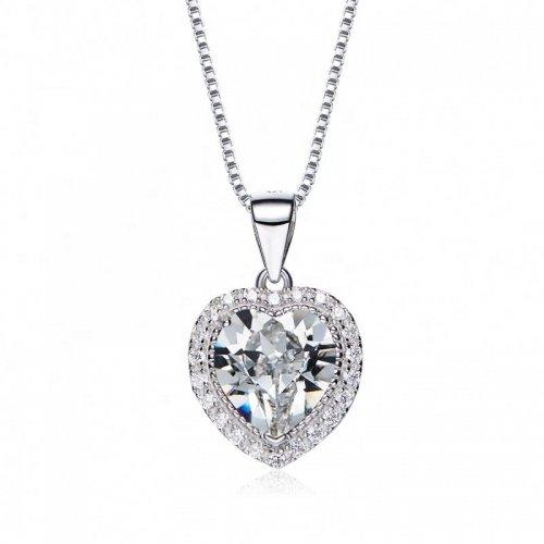 heart shaped swarovski Birthstone necklace - Clear Crystal (April)
