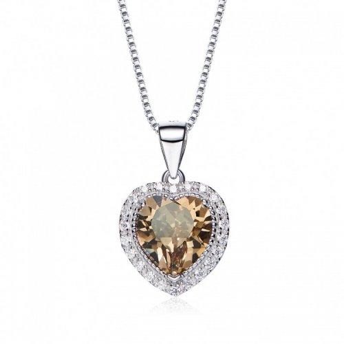 heart shaped swarovski Birthstone necklace - August