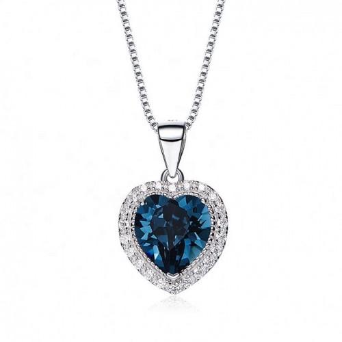 heart shaped swarovski Birthstone necklace - Sapphire (September)