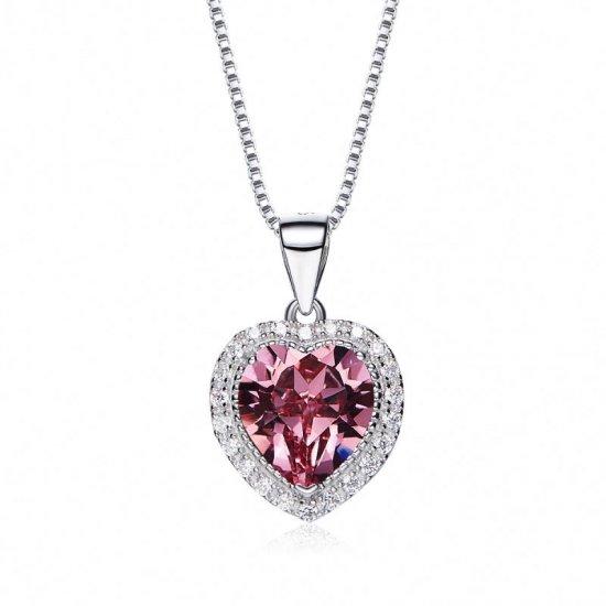 heart shaped swarovski Birthstone necklace - Rose Quarts (October)