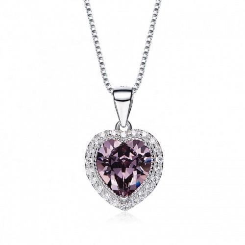 heart shaped swarovski Birthstone necklace  - November