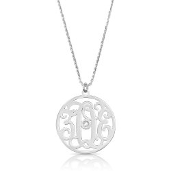 impressive monogram necklace with swarovski birthstone in sterling silver