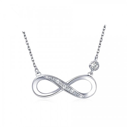 infinity necklace in sterling silver and cubic zirconia