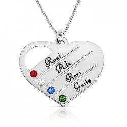 mom/grandma necklace with kids names engraved & swarovski birthstones  in sterling silver