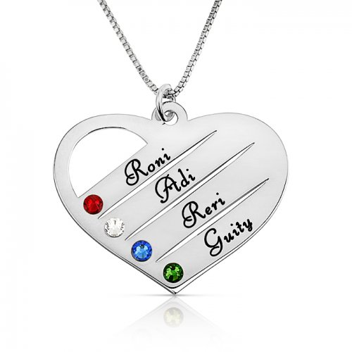 mom/grandma necklace with kids names engraved & swarovski birthstones  in sterling silver