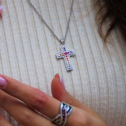cross pendant necklace - rainbow design
