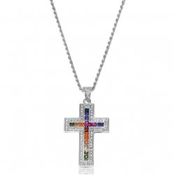 cross pendant necklace - rainbow design