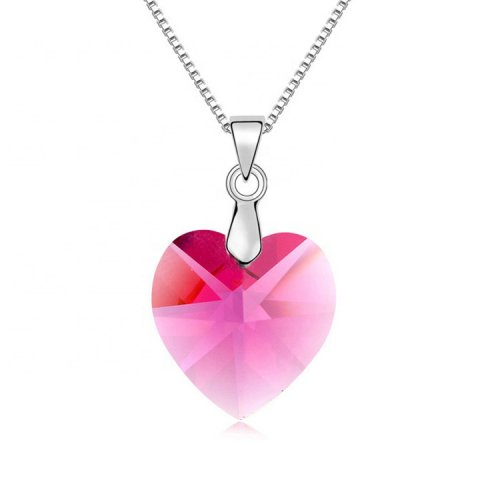 crystal from swarovski heart pendant necklace   -  rose