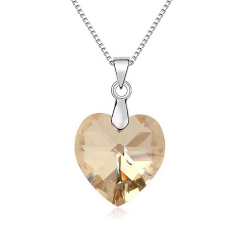 crystal from swarovski heart pendant necklace   -  golden brown