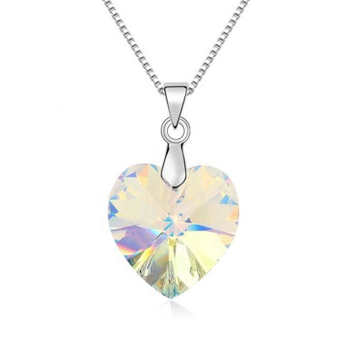 crystal from swarovski heart pendant necklace   - clear crystal