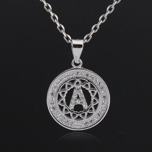 Initial letter pendant necklace in 925 sterling silver and cubic zirconia -  letter A