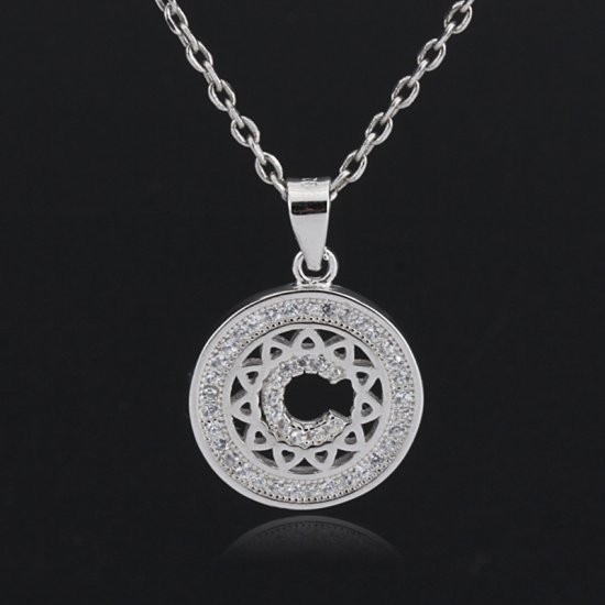 Initial letter pendant necklace in 925 sterling silver and cubic zirconia -  letter C