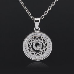 Initial letter pendant necklace in 925 sterling silver and cubic zirconia -  letter Q