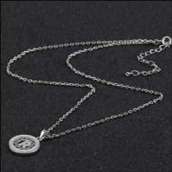 Initial letter pendant necklace in 925 sterling silver and cubic zirconia -  letter R