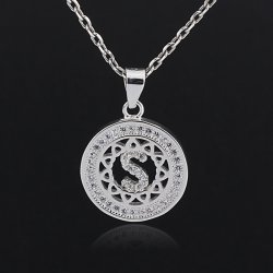 Initial letter pendant necklace in 925 sterling silver and cubic zirconia -  letter S