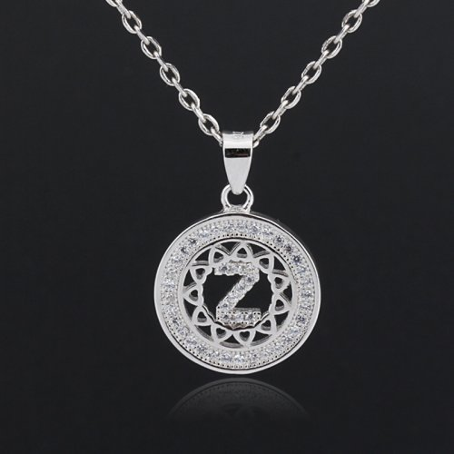 Initial letter pendant necklace in 925 sterling silver and cubic zirconia -  letter Z