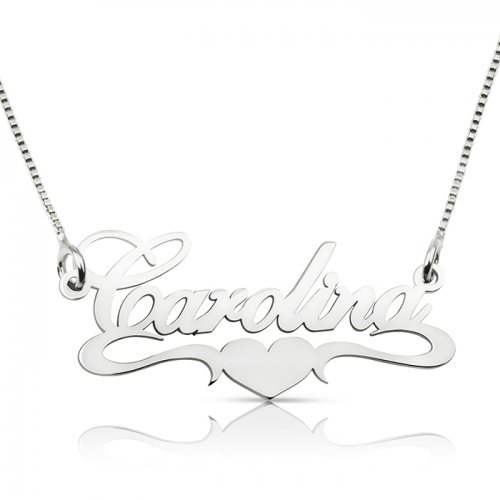 sterling silver middle heart name necklace