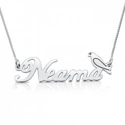 sterling silver name necklace with a bird