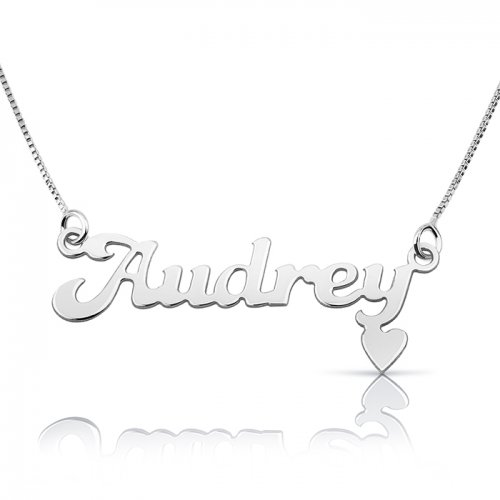 sterling silver name necklace with small heart at the bottom