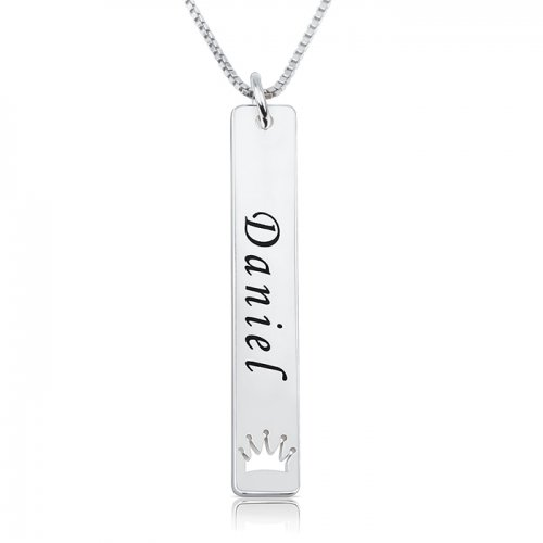 Sterling silver royal bar necklace with name & crown