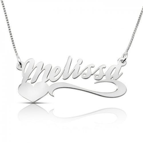 Name necklace and heart at the bottom in 925 sterling silver