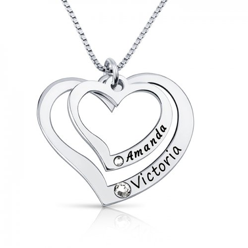 Silver 2 Hearts Necklace Engraved With 2 Names & Swarovski Birthstones