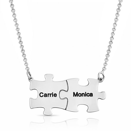 Engraved Family Puzzle Necklace on Sterling silver
