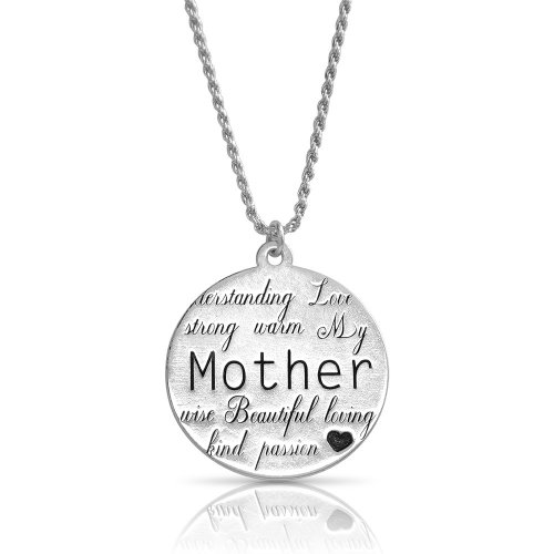 engraved disc necklace for mother in sterling silver