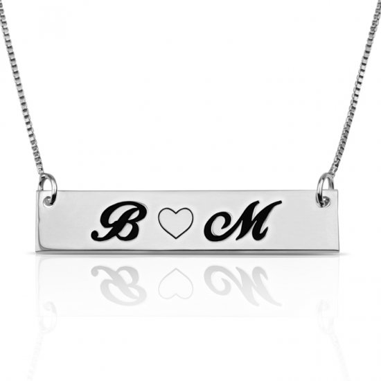 Love bar necklace with two letters & heart - in sterling silver