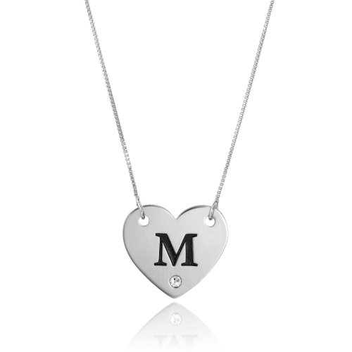 heart necklace in sterling silver with initial letter & swarovski birthstone