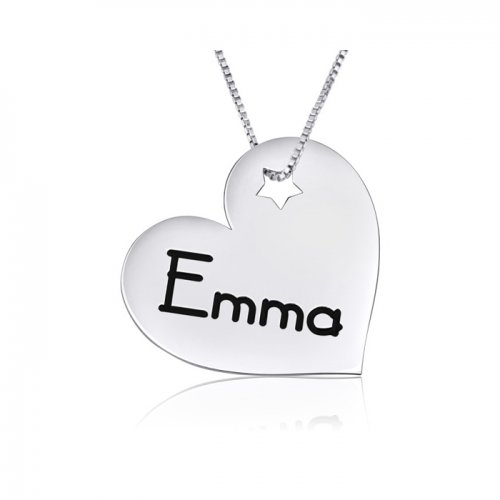 personalized engraved heart pendant in sterling silver