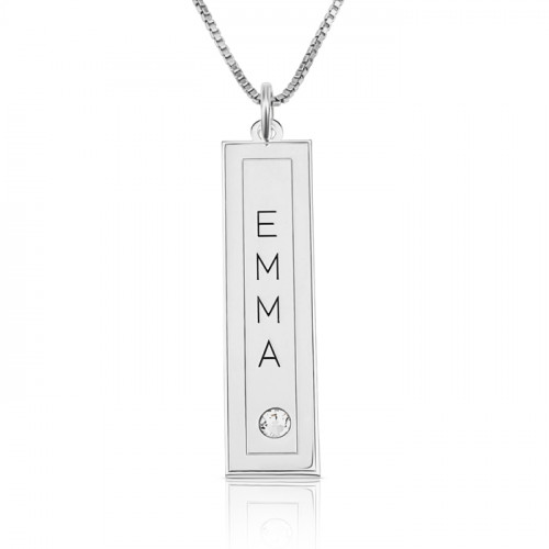 silver vertical bar with name engraved in a frame & swarovski birthstone