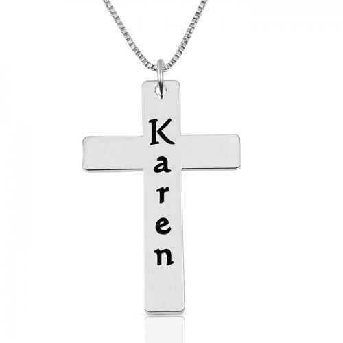 personalized cross necklace in silver