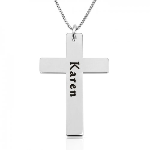 engraved cross necklace in silver